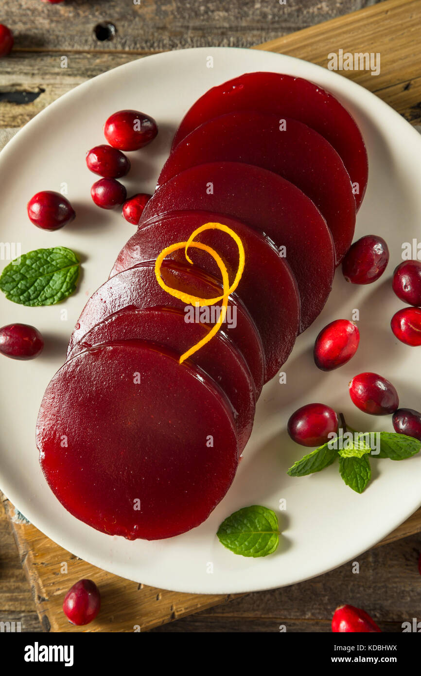 Sweet Canned Cranberry Sauce for Thanksgiving Dinner - Stock Image