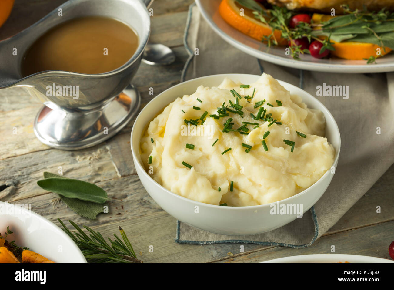 Homemade Creamy Whipped Mashed Potatoes with Chives - Stock Image