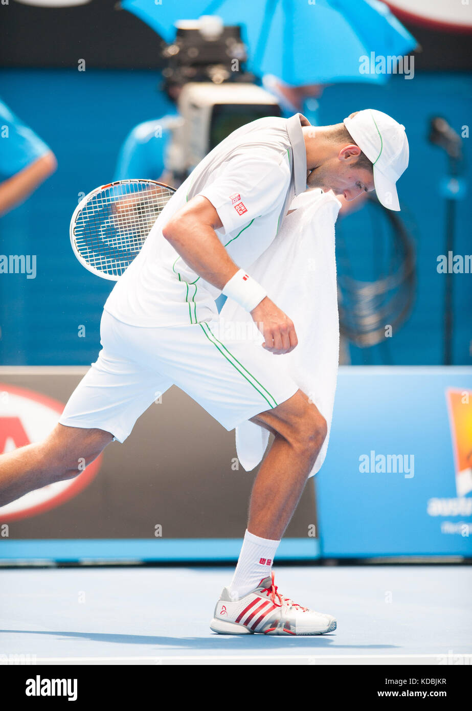 Defending Australian Open Champion Novak Djokovic (SRB) took on L. Mayer (ARG) in third day, second round play. - Stock Image