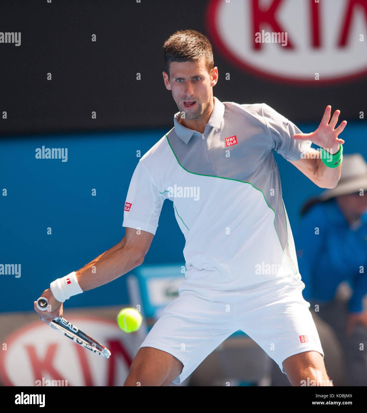 Novak Djokovic(SRB) faced Italian tennis bad boy F. Fognini in day seven of the 2014 Australian Open in Melbourne. - Stock Image