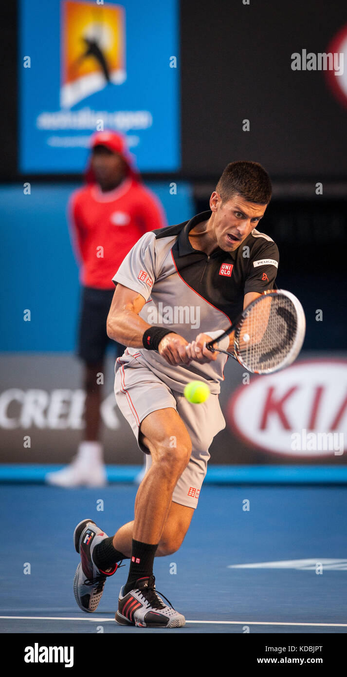 Novak Djokovic (SRB) went up against unseeded Lucas Lacko (SVK)  in day one play of the 2014 Australian Open In - Stock Image