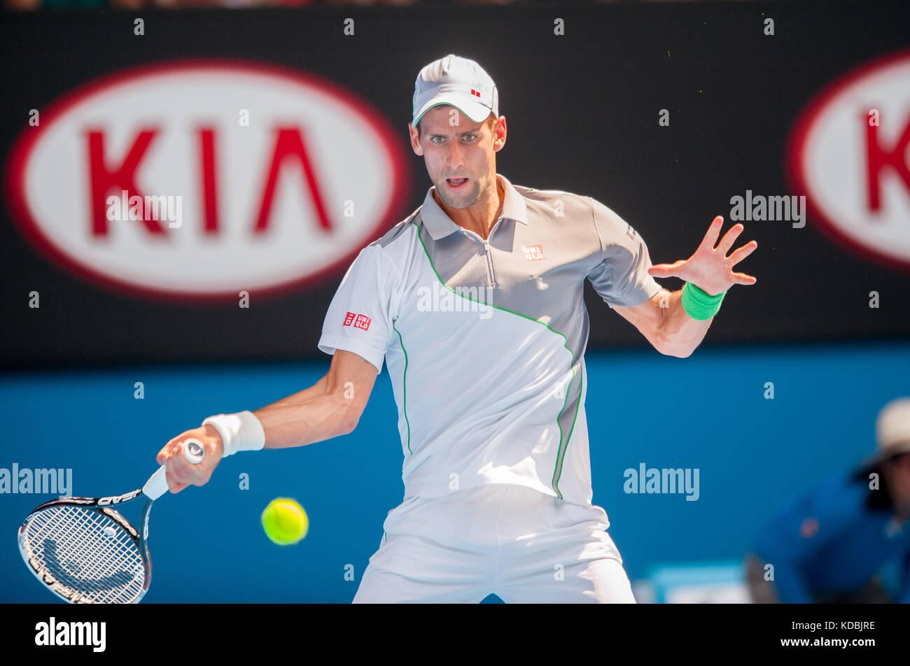 Defending Australian Open Champion Novak Djokovic (SRB) took on L. Mayer (ARG) in third day, second round play. - Stock Image