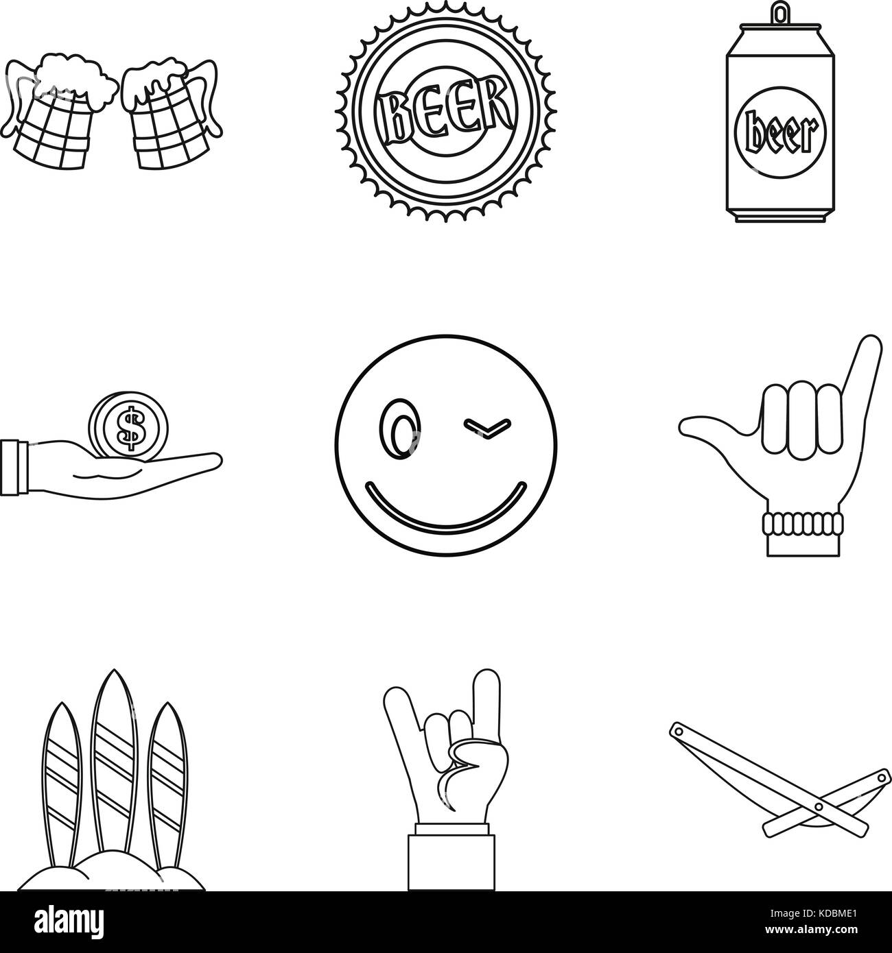 Bout icons set, outline style - Stock Image