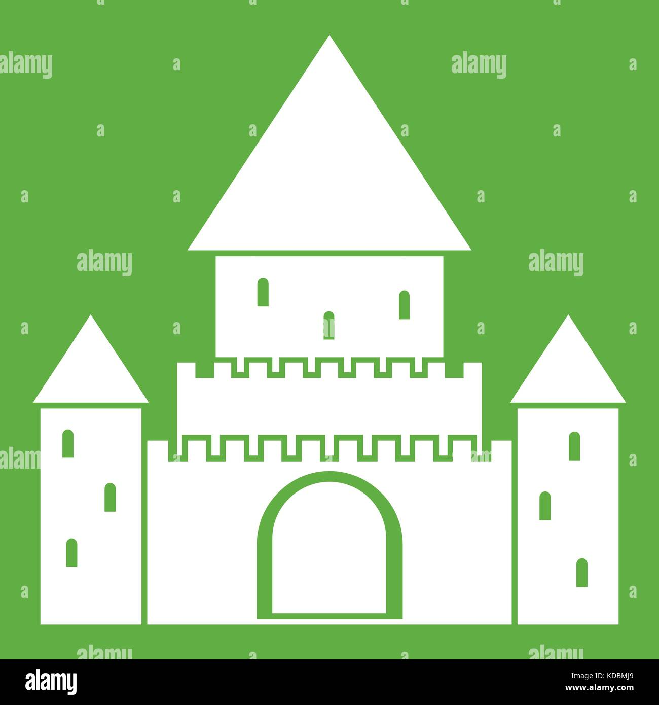 Chillon Castle, Switzerland icon green - Stock Vector