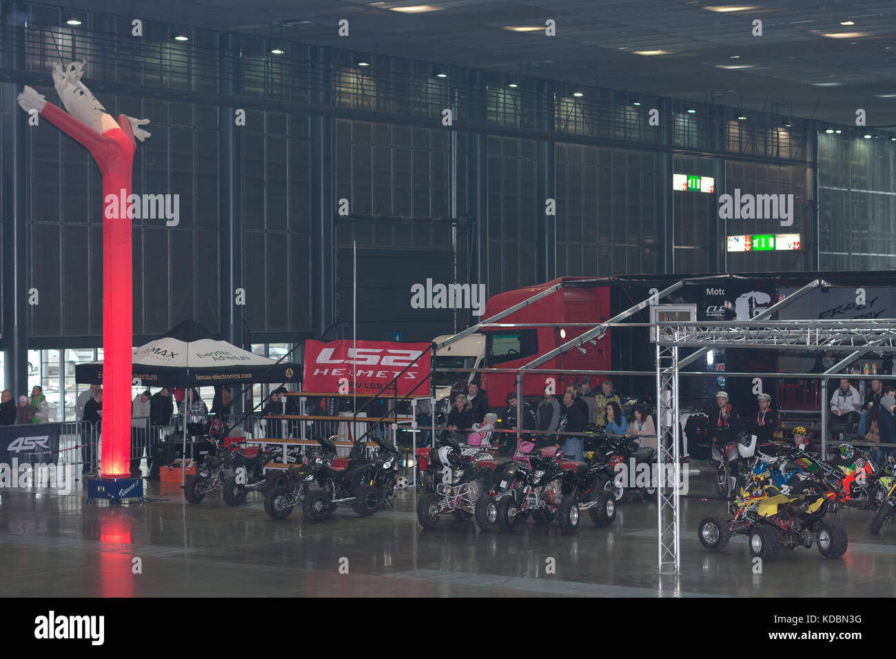 BRNO, CZECH REPUBLIC-MARCH 4,2016: Pavilion in Brno Exhibitions Centre, place of stuntman show during International Stock Photo