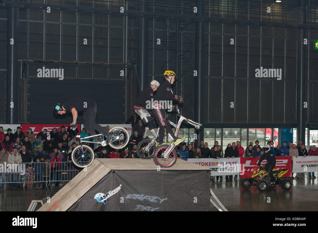 BRNO, CZECH REPUBLIC-MARCH 4,2016: Stunts riding bikes during stunt show on International Fair for Motorcycles  - Stock Image