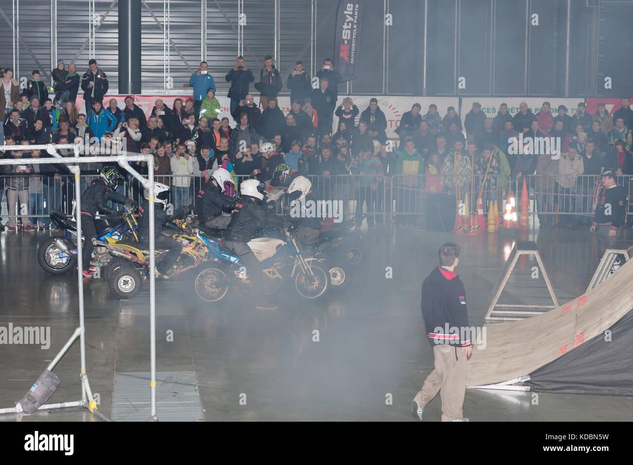 BRNO, CZECH REPUBLIC-MARCH 4,2016: Stunts googbye to the audince during stunt show on International Fair for Motorcycles - Stock Image