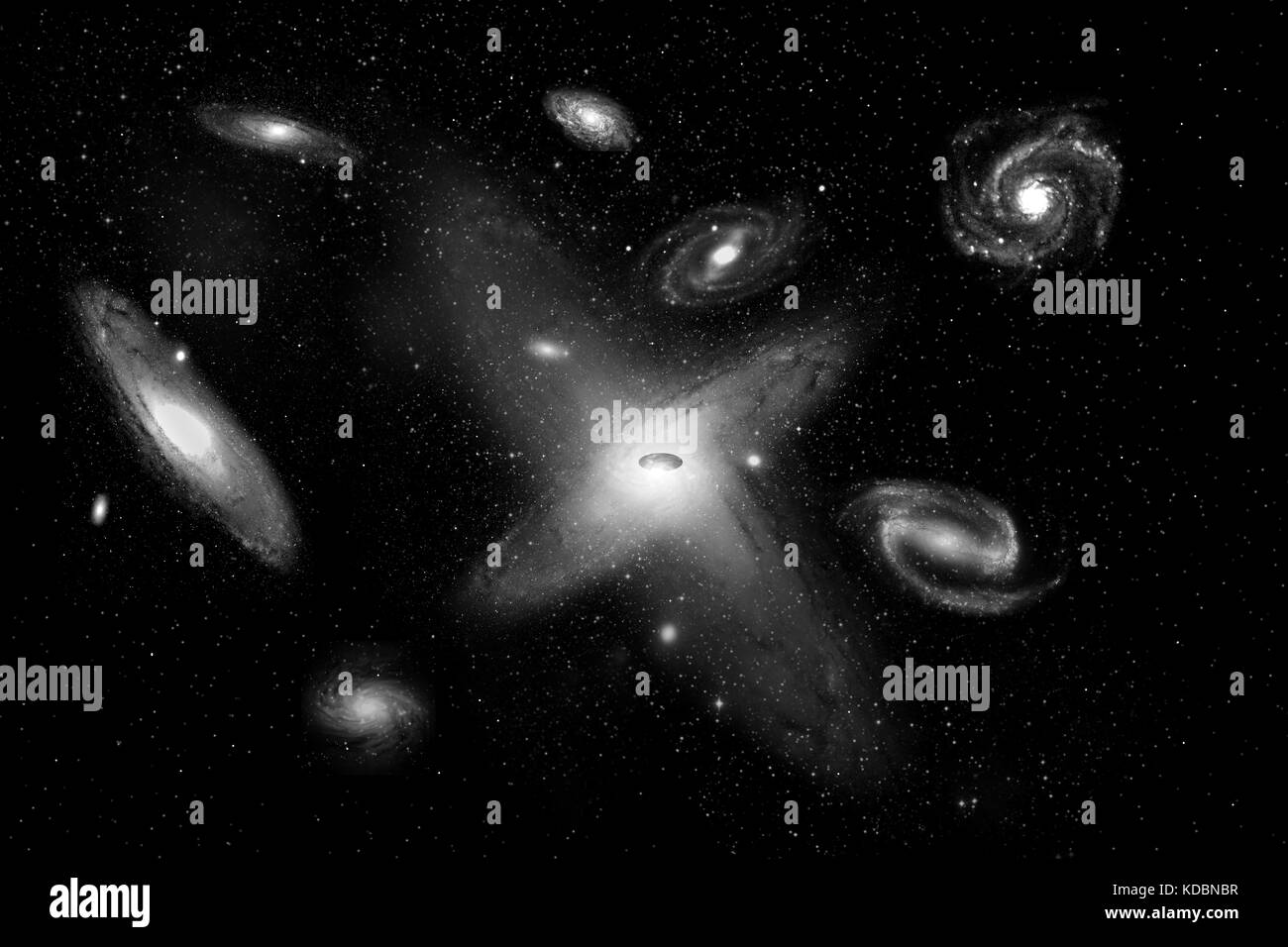 Colliding Galaxies Forming A Supermassive Black Hole. - Stock Image