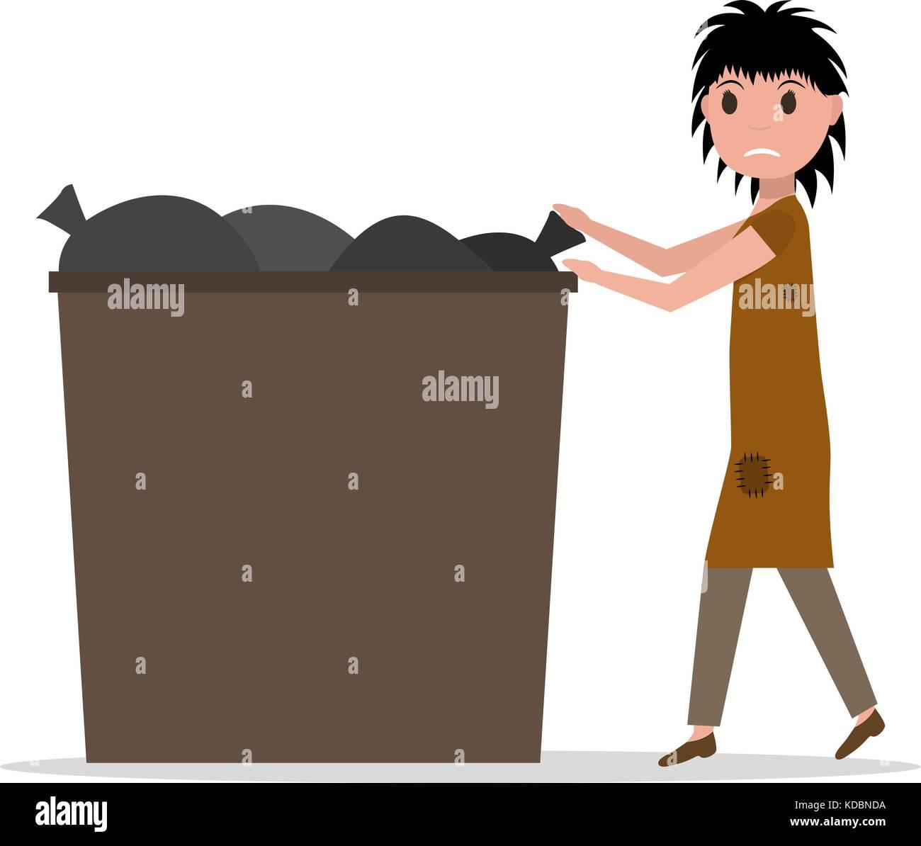 25 Vector cartoon hobo beggar jobless woman dumpster Stock Vector ...