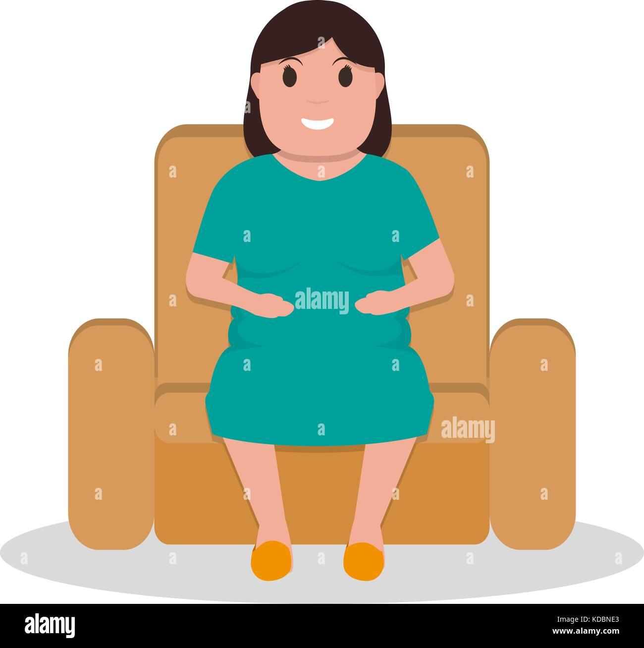 Vector cartoon fat woman sitting in a armchair - Stock Vector