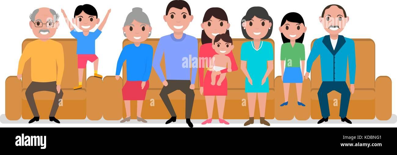 Vector illustration cartoon big happy family sofa - Stock Vector
