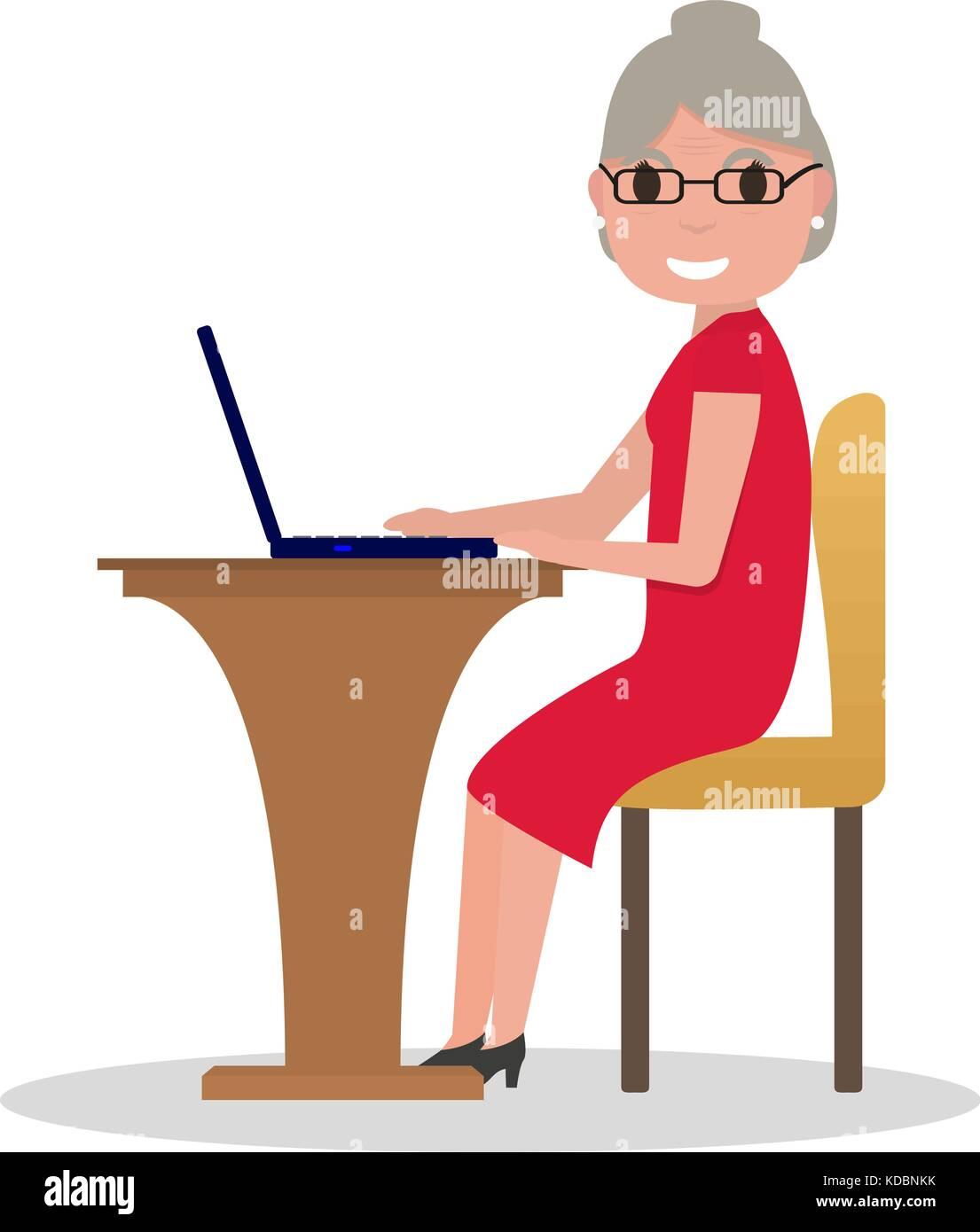 Vector cartoon old woman sitting at desk laptop - Stock Vector