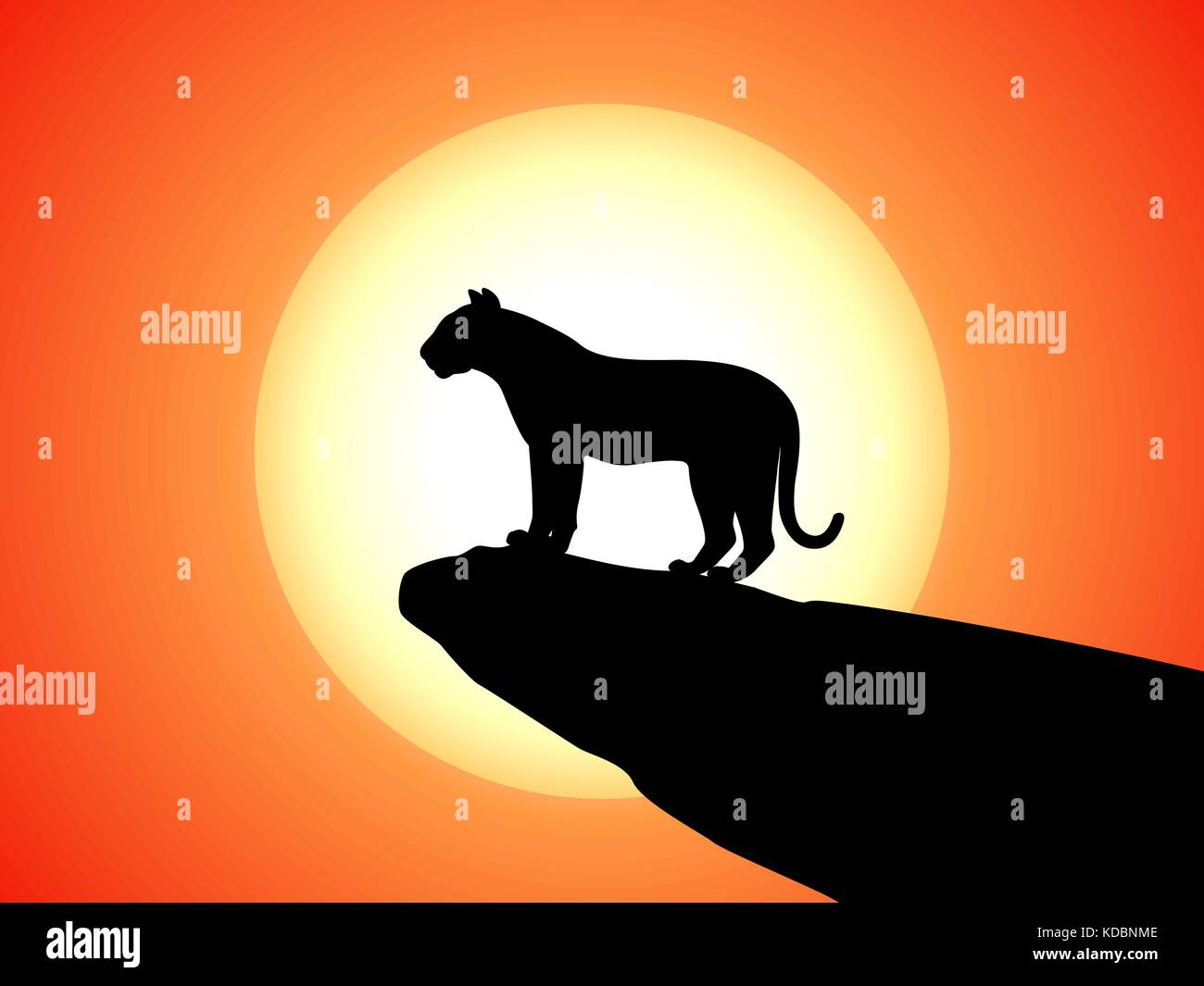Vector silhouette tiger standing on rock on sunset - Stock Vector