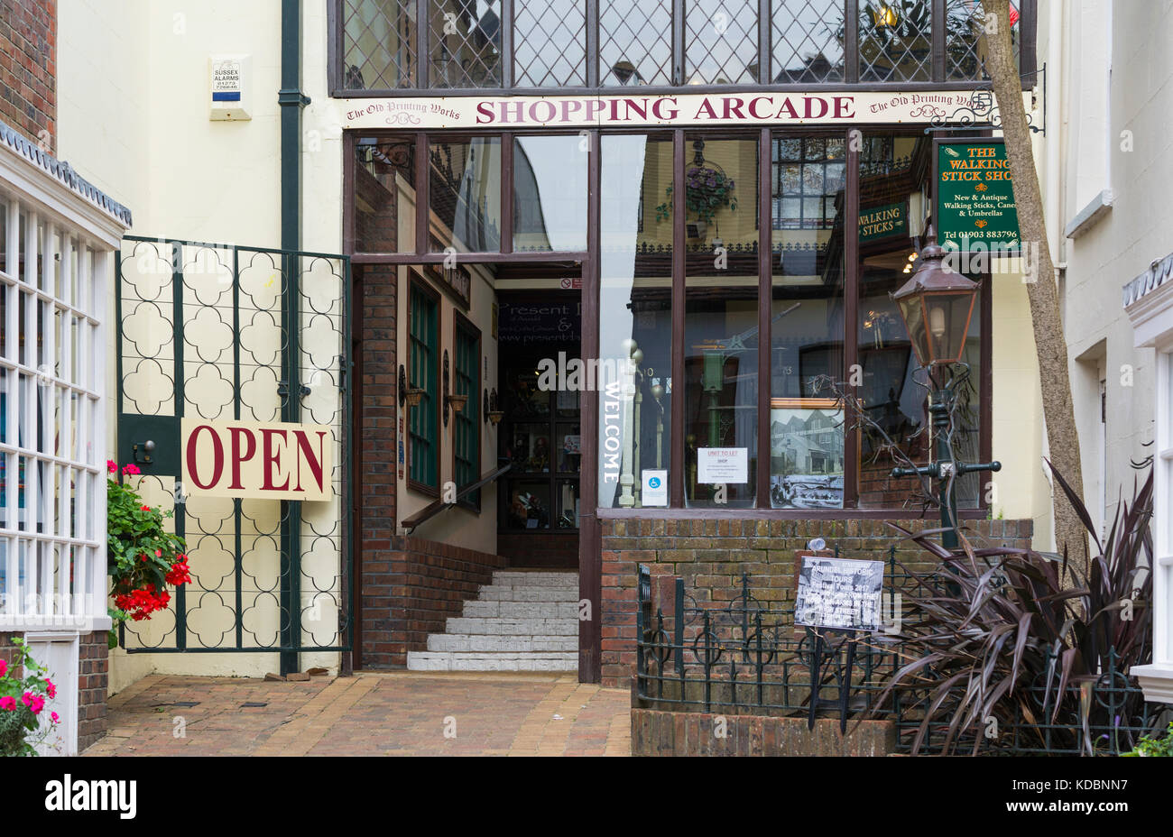 The Old Printing Works Shopping Arcade entrance in Arundel, West Sussex, England, UK. - Stock Image
