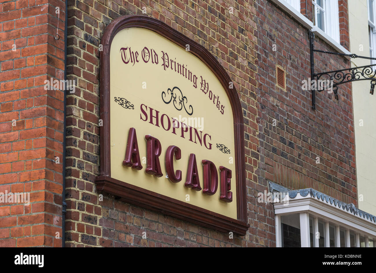 The Old Printing Works Shopping Arcade in Arundel, West Sussex, England, UK. - Stock Image