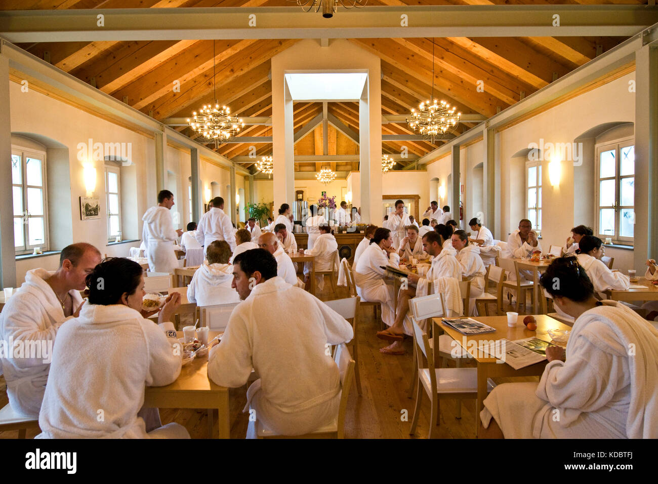 Dining Room, Pré-Saint-Didier Spa, Aosta Valley, Italy - Stock Image