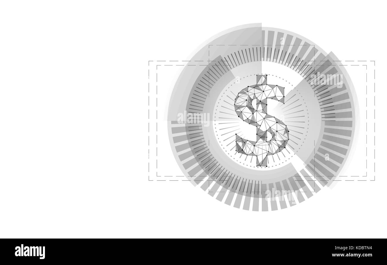 Dollar target HUD graph interface display. American currency symbol low poly geometric white gray icon user money - Stock Image