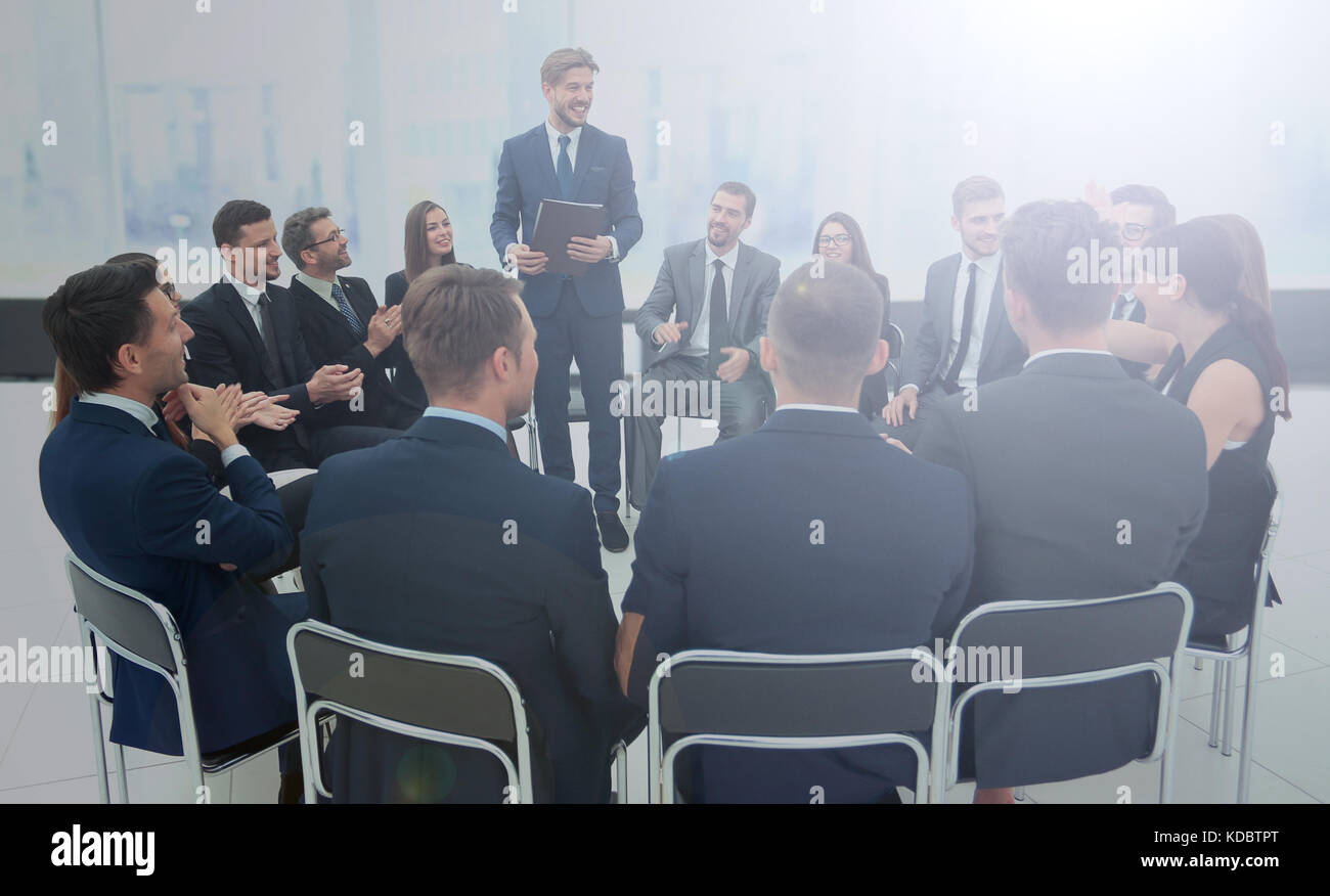 Speaker giving a talk on corporate Business Conference.  Busines - Stock Image