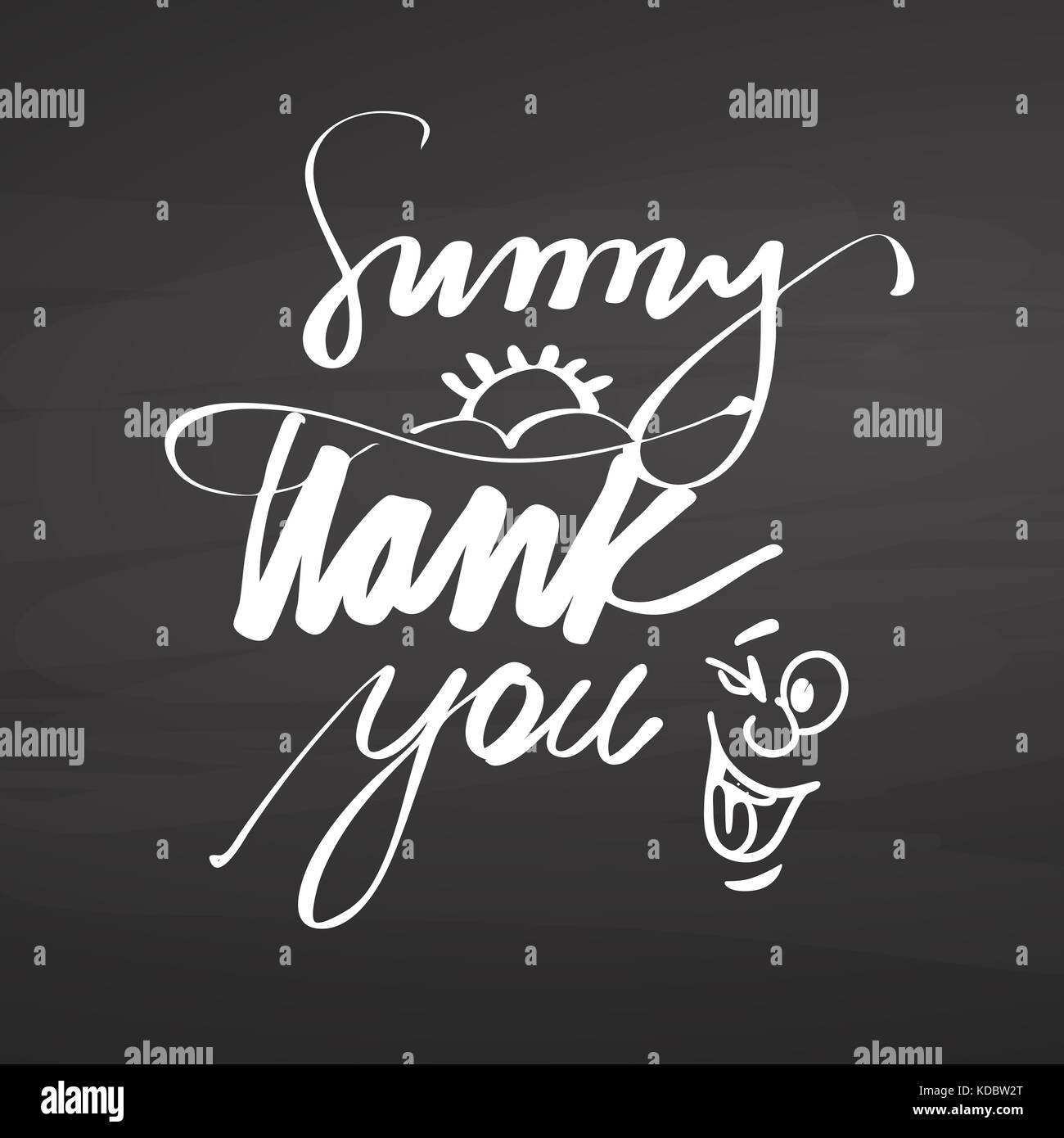 Sunny thank you lettering on chalkboard. Hand drawn healthy food sketch. Black and White Vector Drawing on Blackboard. - Stock Image