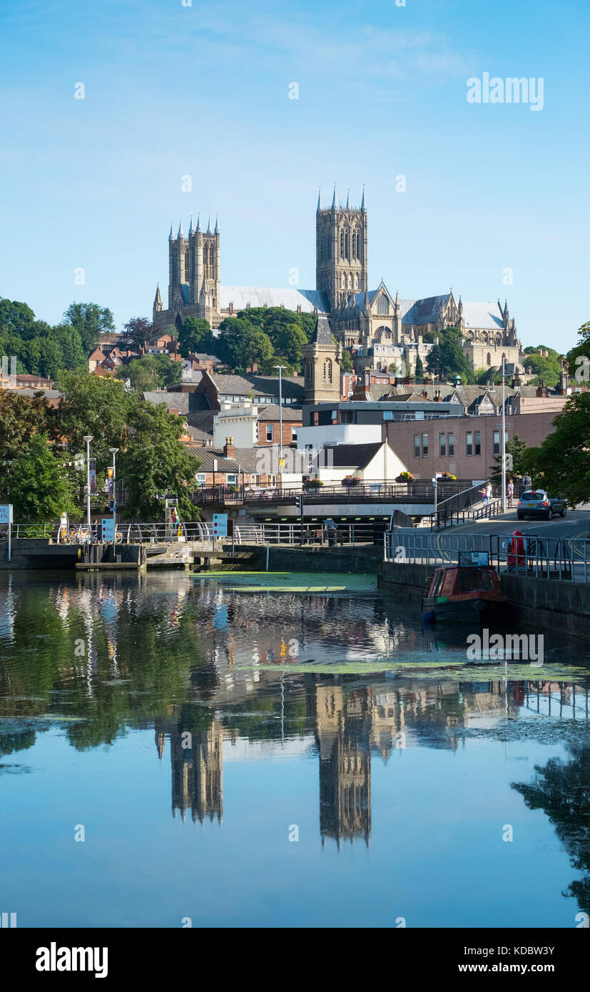 Lincoln, UK. August 26th 2017. Lincoln Cathedral seen from Brayford pool, the inland port Stock Photo