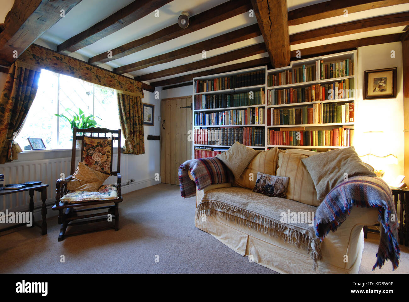 sitting room in old beamed ceiling Derbyshire cottage Stock Photo
