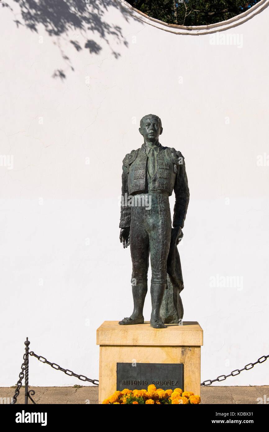 Sculpture at the bullfighter Antonio Ordoñez, Real Maestranza de Caballeria Plaza de Toros. Bullring Ronda. - Stock Image