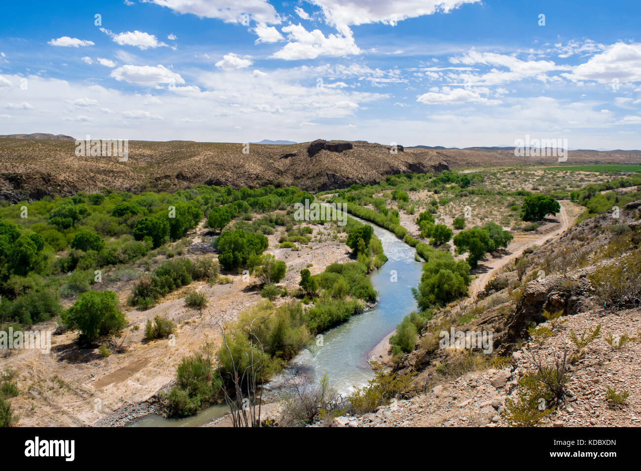 Gila River flowing through the Gila Box Riparian National Conservation Area near Safford, Arizona. Managed by the - Stock Image
