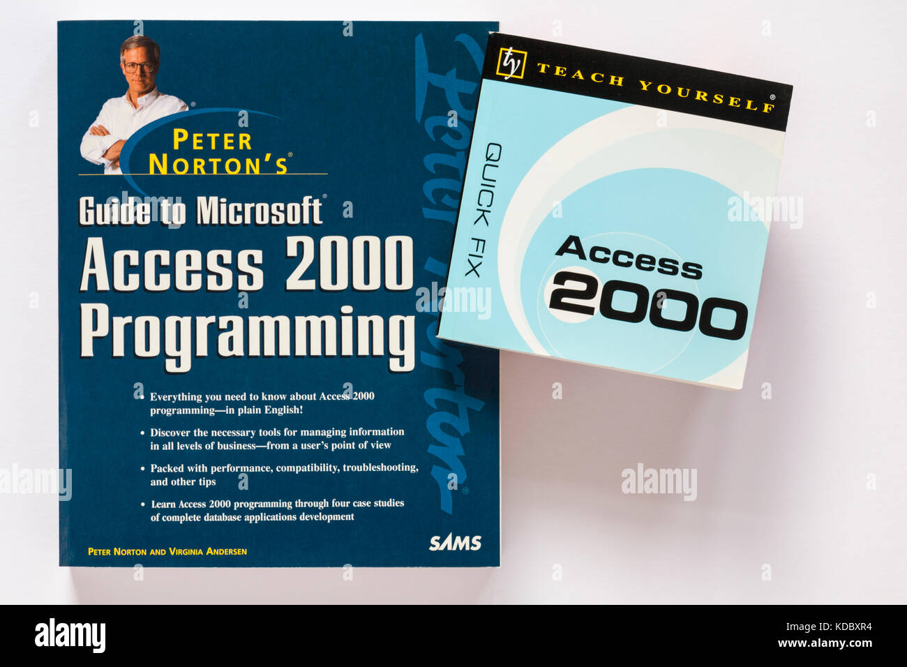 Peter Norton's Guide to Microsoft Access 2000 Programming and teach yourself quick fix access 2000 books on - Stock Image