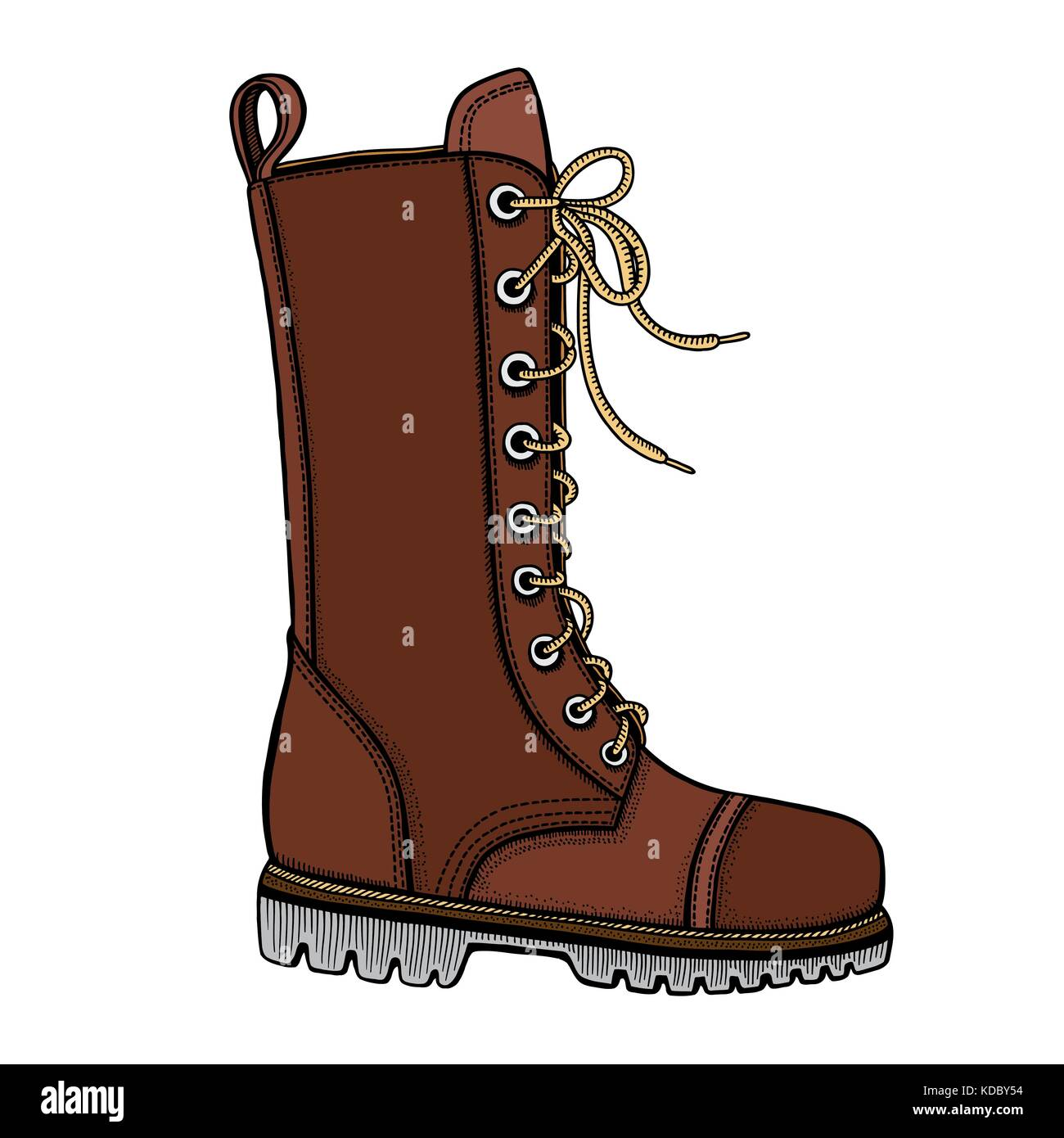 Vector Illustration of woman s brown leather boots with decorative belts and metallic buckles without shoelace on - Stock Vector