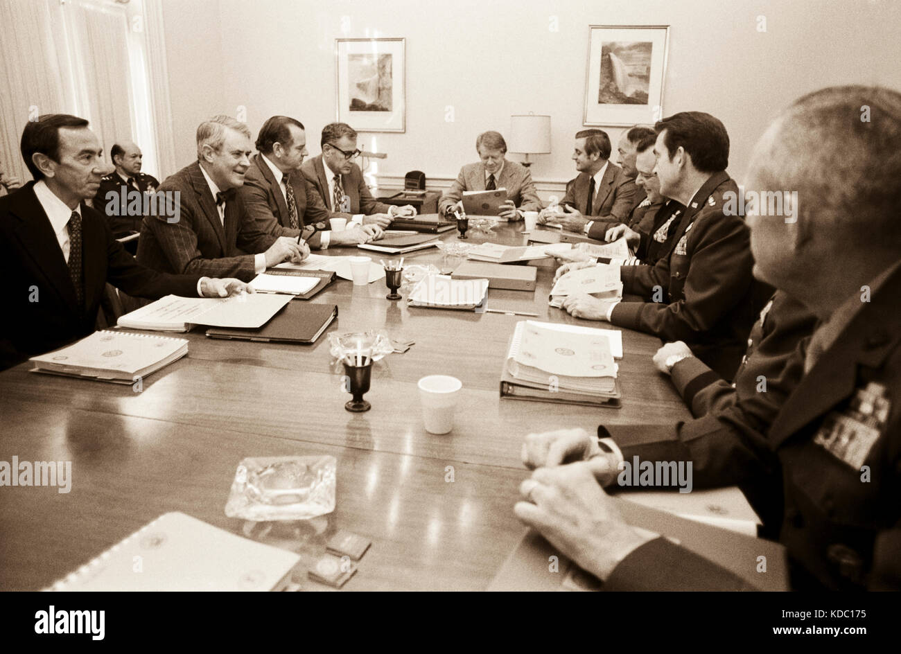 President elect Jimmy Carter meets with cabinet secretaries and the Pentagon Chiefs of Staff - Stock Image