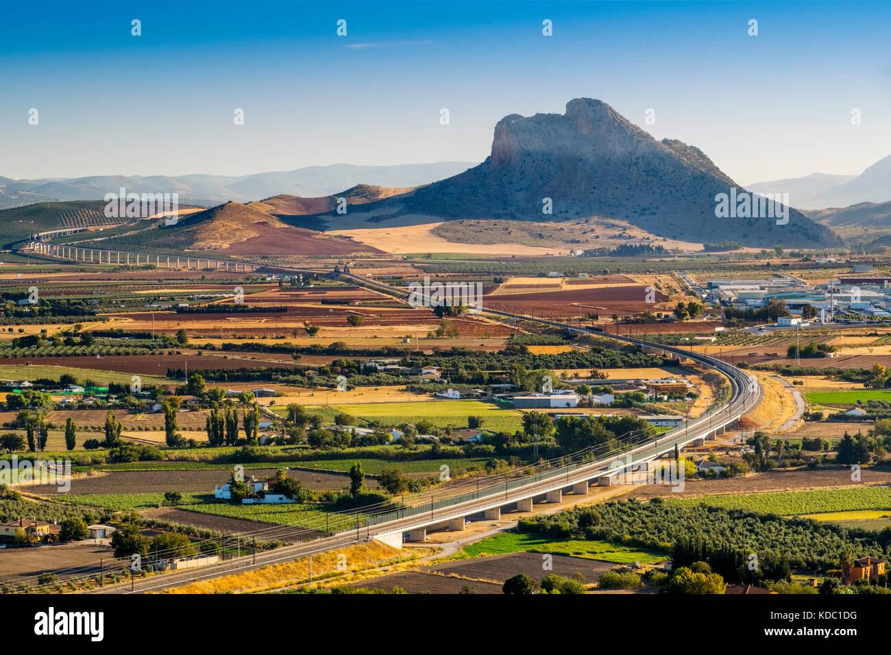 Panoramic view. La Peña de los Enamorados, Lovers Rock or Montaña del Indio & High Speed Train Line - Stock Image