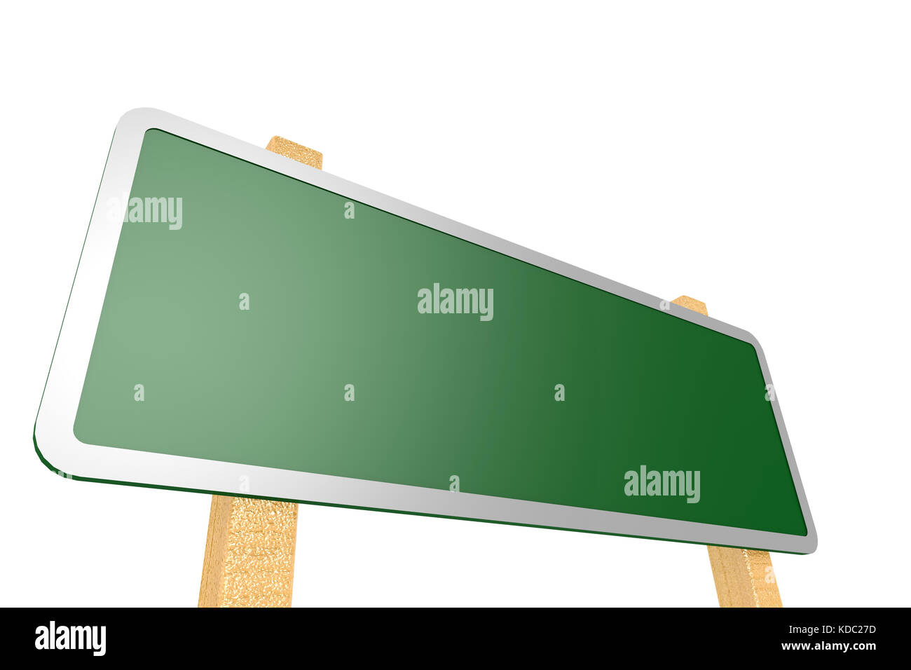 Green road sign with wood stand image , 3D rendering - Stock Image