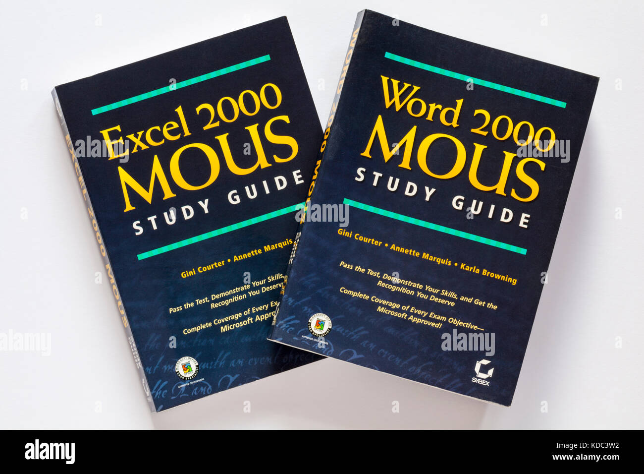 Word 2000 Mous Study Guide and Excel 2000 Mous Study Guide books on white background - Stock Image