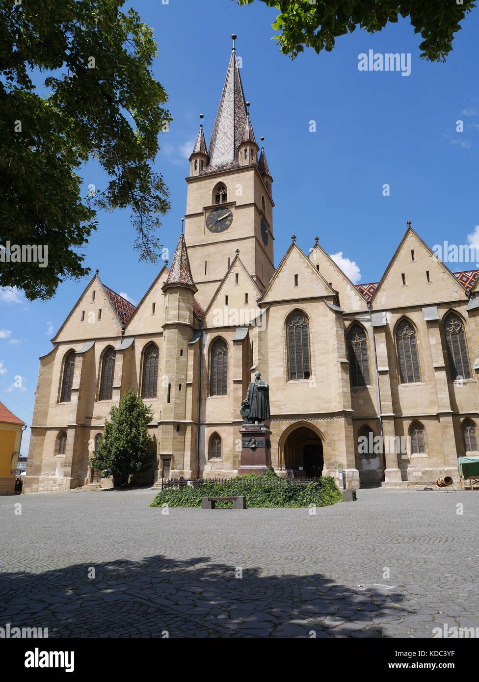 Beautiful evangelical gothic cathedral in Sibiu, Romania - Stock Image