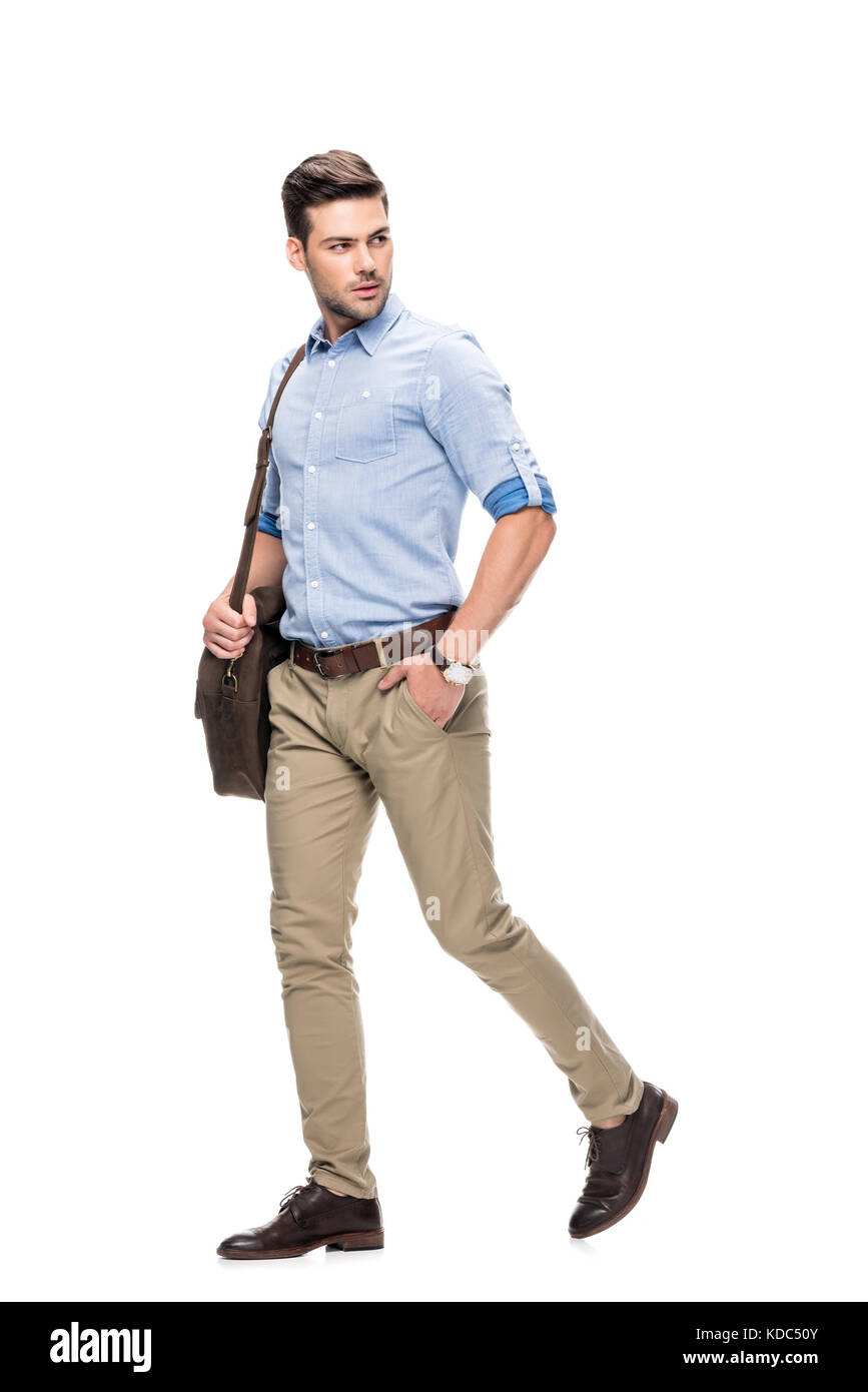 man walking with leather briefcase - Stock Image