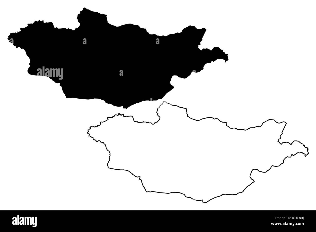 Mongolia map vector illustration, scribble sketch Mongolia - Stock Vector