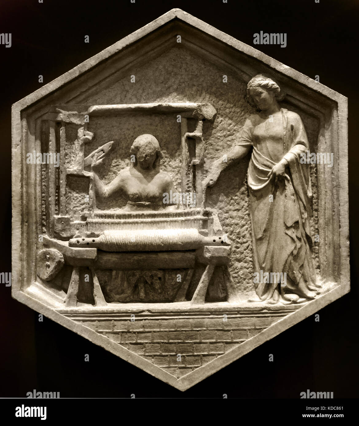 Textile Production: Andrea Pisano, 1334-36. the woman on the right  identified as Minerva, the inventor of weaving - Stock Image