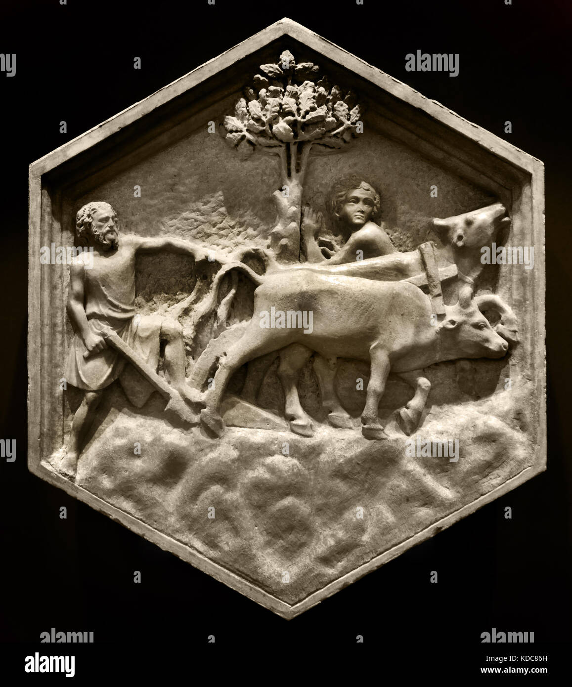 Agriculture: Andrea Pisano, 1334-36. Pisano 1290 – 1348 is sculptor architect and Workshop began about 1336 with - Stock Image