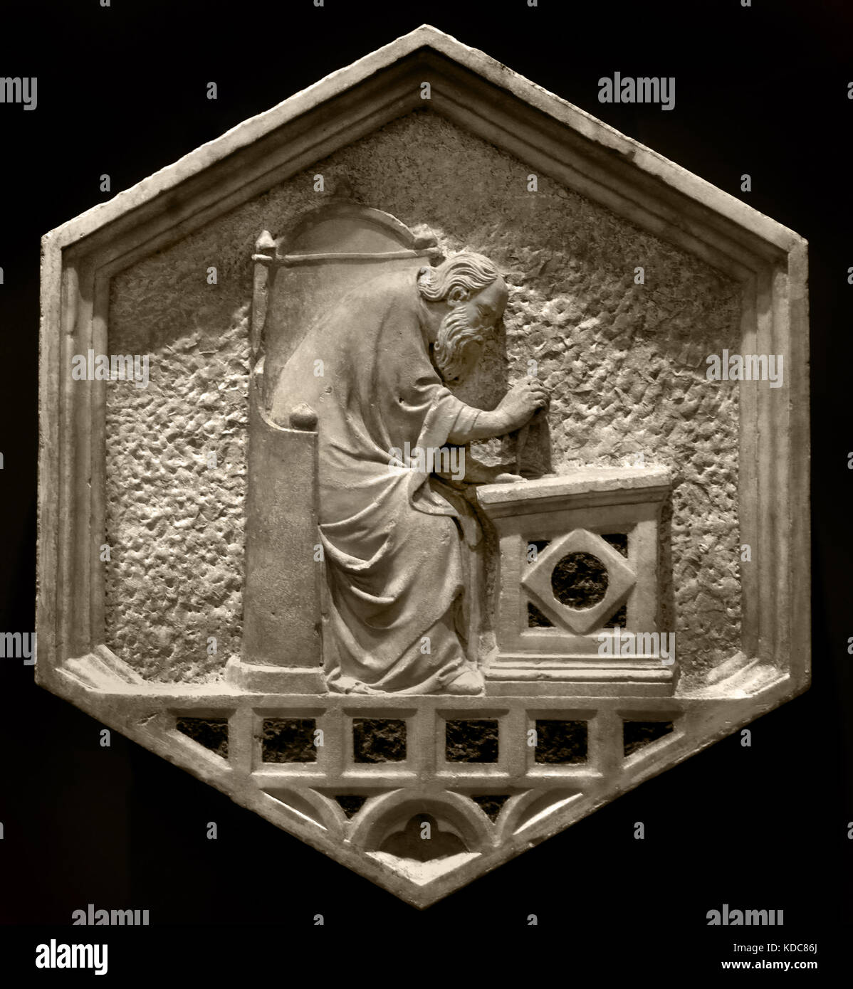 Euclid as Architecture: Pisano 1290 – 1348 is sculptor architect and Workshop began about 1336 with the reliefs - Stock Image