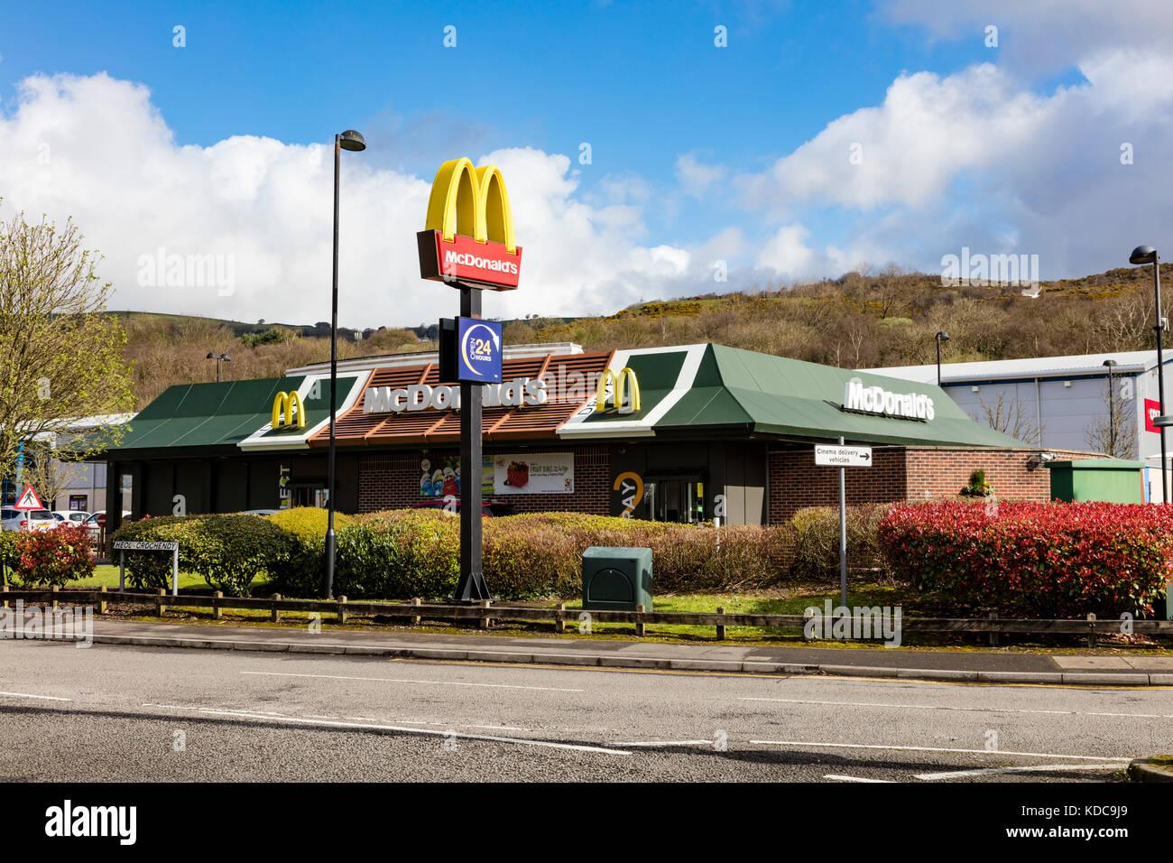 McDonalds opposite Coleg y Cymoedd, Nantgarw. Wales, UK - Stock Image