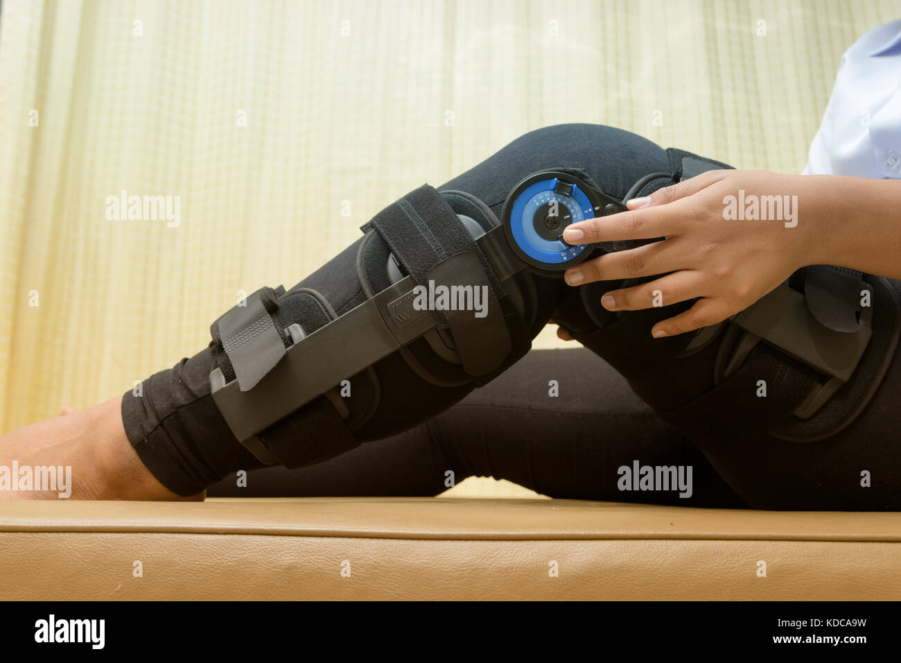 Patient adjustable angle on knee brace ,Knee support for leg or knee injury - Stock Image