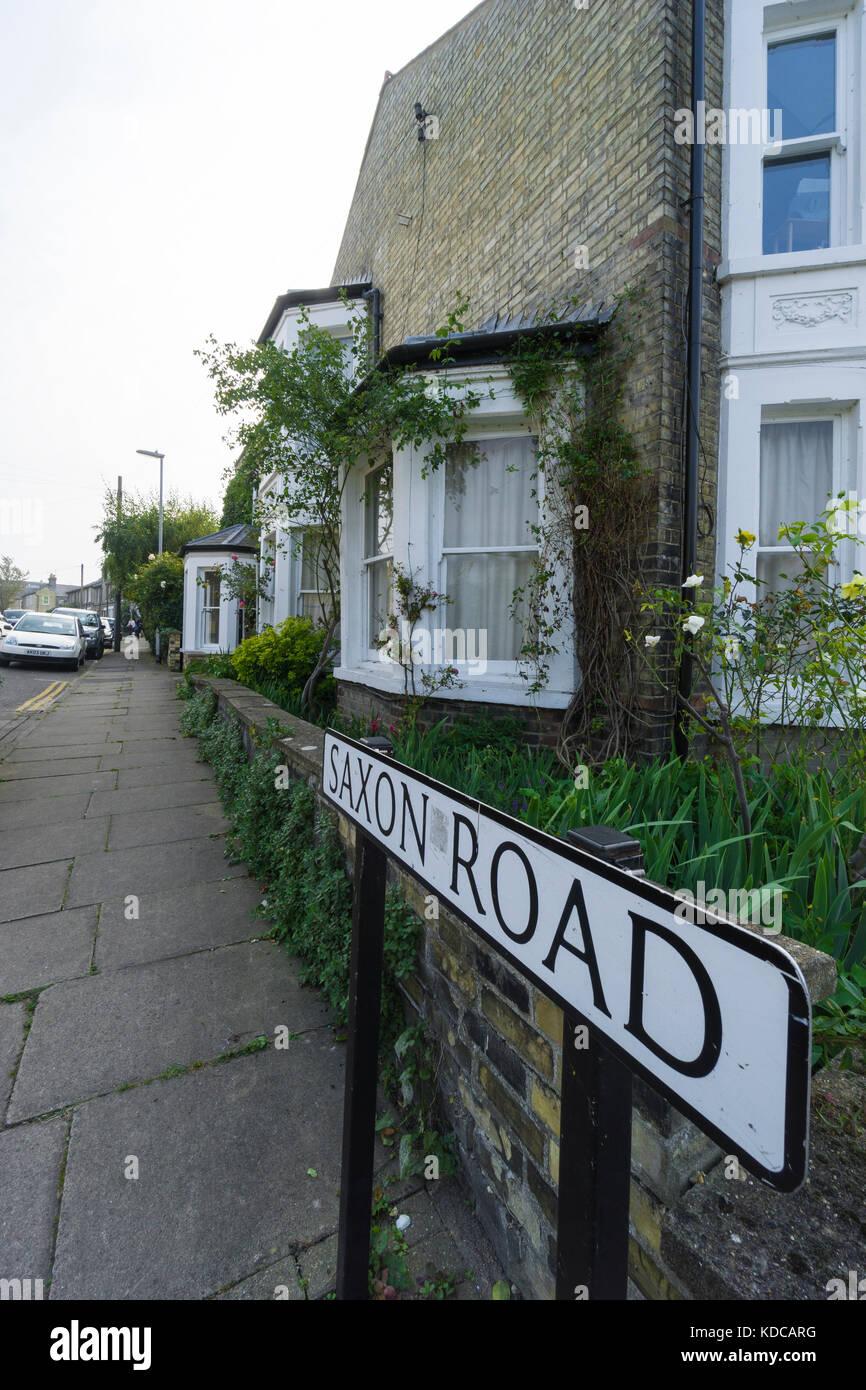 Road name plate Saxon Road - Stock Image