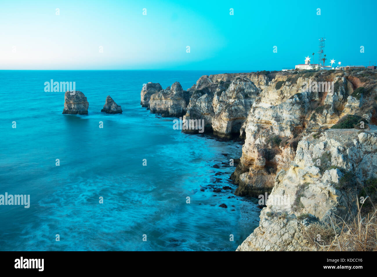 Lighthouse at Ponta da Piedade, Lagos, Portugal, Europe - Stock Image