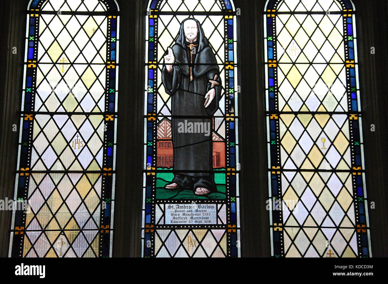 St Ambrose Barlow Window at Salford Cathedral - Stock Image