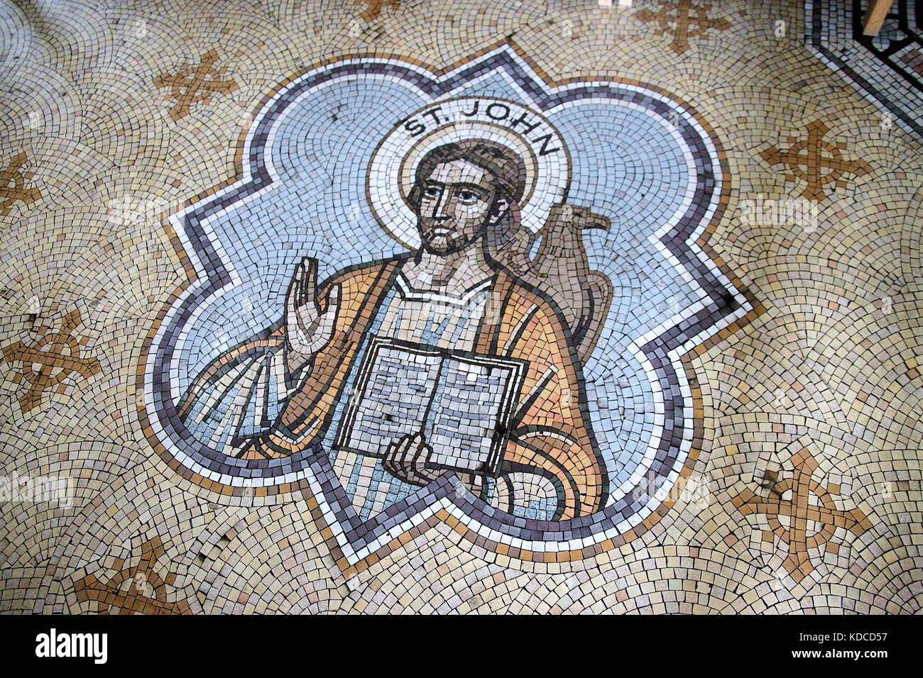 Mosaic floor at the Roman Catholic Salford Cathedral of St John the Evangelist in Greater Manchester - Stock Image