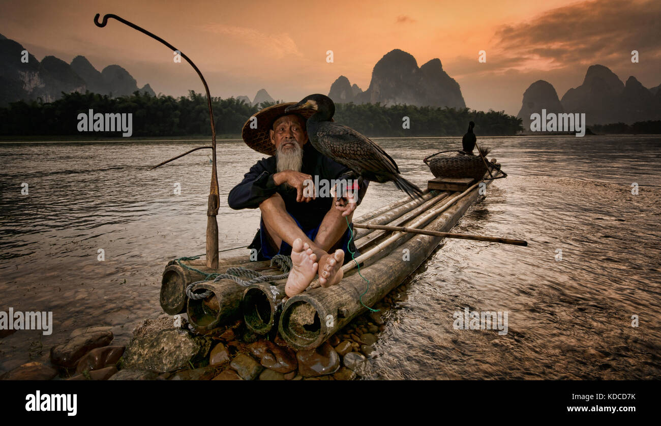 Cormorant fisherman and his birds on the Li River in Yangshuo Stock Photo