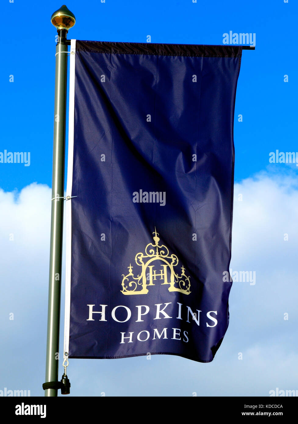 Hopkins Homes, housing developers,builders, building site, site, new housing, sign, logo, banner, Heacham, Norfolk, - Stock Image