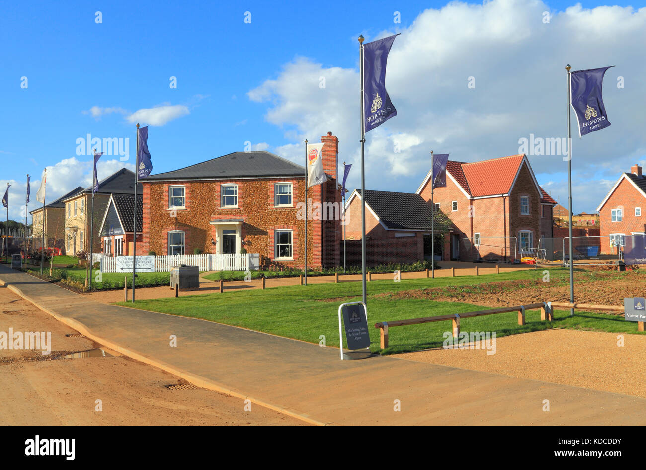 Hopkins Homes, sign, new housing development, Heacham, Norfolk, England, UK, previously agricultural land, developers, - Stock Image