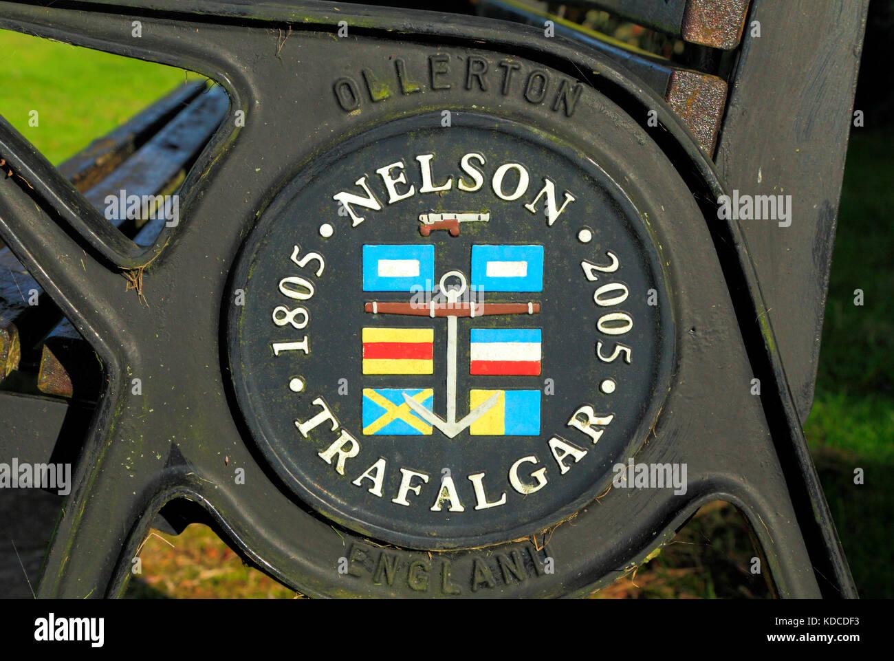 Horatio Nelson, bi-centennial plaque, Trafalgar, 1805 - 2005, Holme, Norfolk, England, UK, Lord Nelson, Admiral - Stock Image
