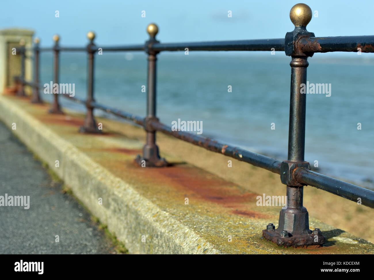 Some cast iron railings on the sea front at cowes on the Isle of Wight , uk - Stock Image